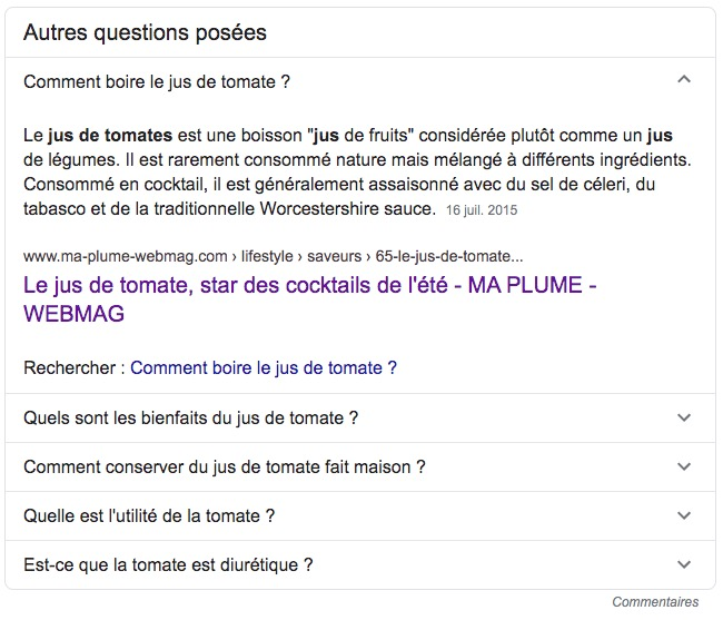Google PAA snipets (People Also Ask ou Autres questions posées)