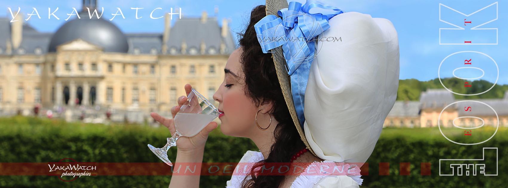 Vaux le Vicomte - Château et participante costumée à la journée Grand Siècle